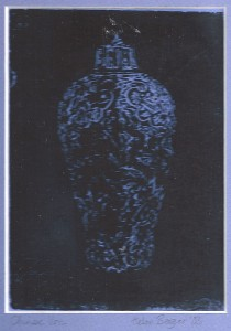 "Chinese Urn water based engraved monoprint 7"" x 5"" 2003"