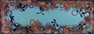 "Fly Away Peter 18"" x 48"" mixed media on wood panel"