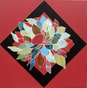 "Sedona Bouquet 30"" x 30"" acrylic, vellum and gold leaf on wood panel"
