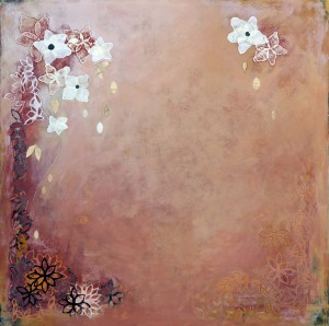 "White Star-SOLD 33"" x 33"" mixed media on wood panel"