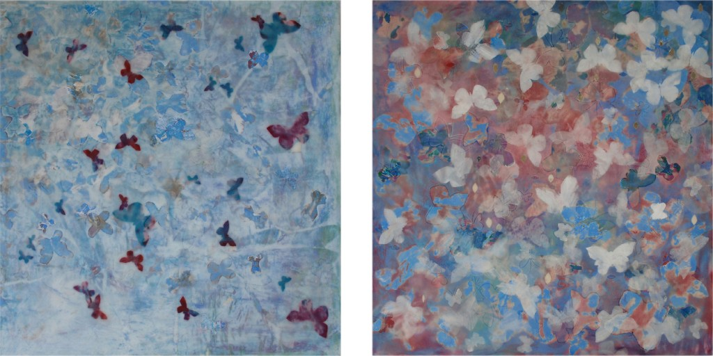 "Andiamo 1 and Andiamo 2 29"" x 29""  each  fabric, paper, acrylic, and wax encaustic on wood panel with Elizabeth Comay"